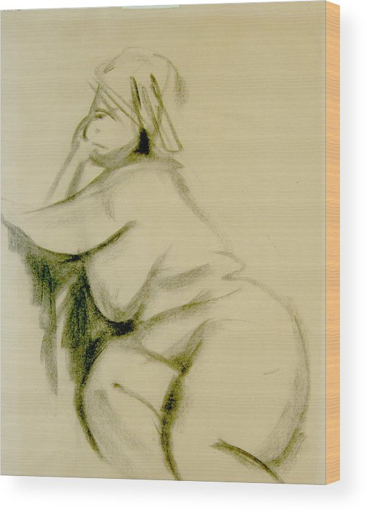 Charcoal Sketch Wood Print featuring the print Nude Study by Howard Stroman