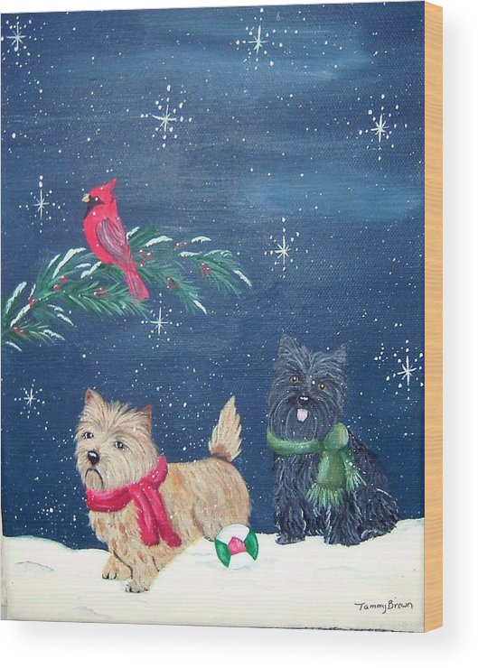 Cairn Terrier Wood Print featuring the painting Playin by Tammy Brown