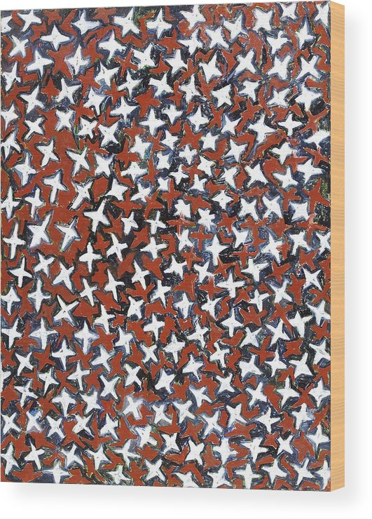 Abstract Stars White Red Pattern Wood Print featuring the painting Stars by Joan De Bot
