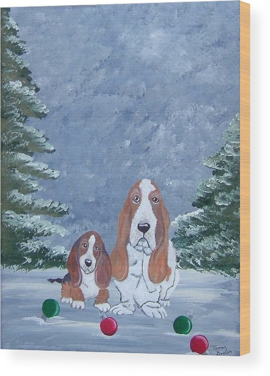 Basset Hound Wood Print featuring the painting Time To Decorate by Tammy Brown