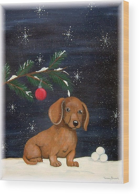 Dachshund Wood Print featuring the painting Winter by Tammy Brown