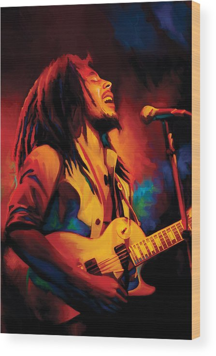 Bob Marley Paintings Wood Print featuring the painting Bob Marley Artwork by Sheraz A