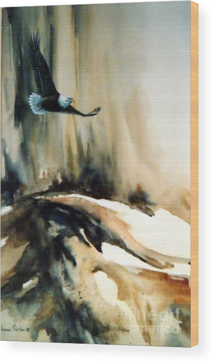Soaring Eagle Wood Print featuring the painting Eagle in Flight by Lynne Parker