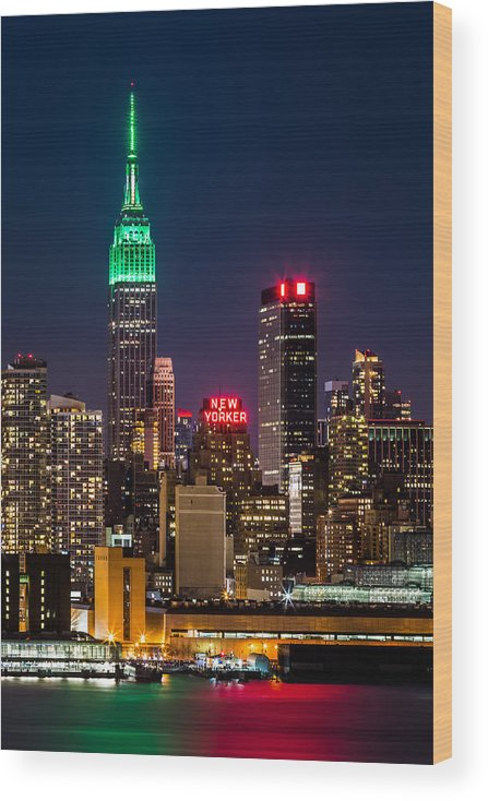 Ireland Wood Print featuring the photograph Empire State Building on Saint Patrick's Day by Mihai Andritoiu