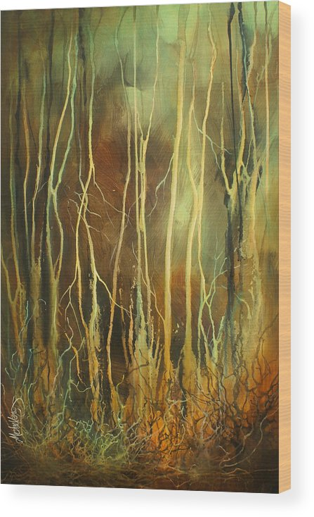 Landscape Wood Print featuring the painting 'still' by Michael Lang