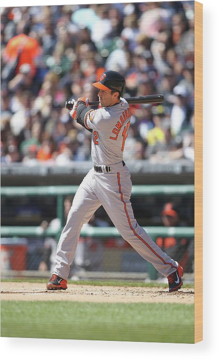 American League Baseball Wood Print featuring the photograph Baltimore Orioles V. Detroit Tigers by John Grieshop