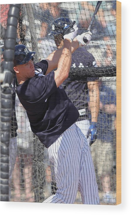 American League Baseball Wood Print featuring the photograph MLB: FEB 20 Spring Training - Yankees Workout by Icon Sportswire
