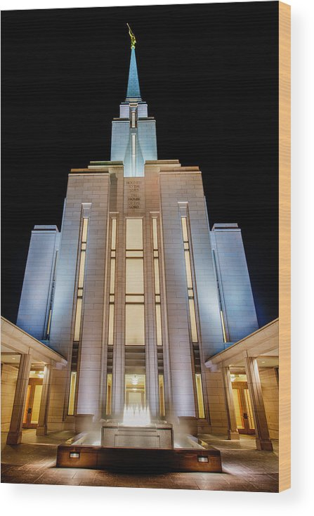 Oquirrh Mountain Temple Wood Print featuring the photograph Oquirrh Mountain Temple 1 by Chad Dutson