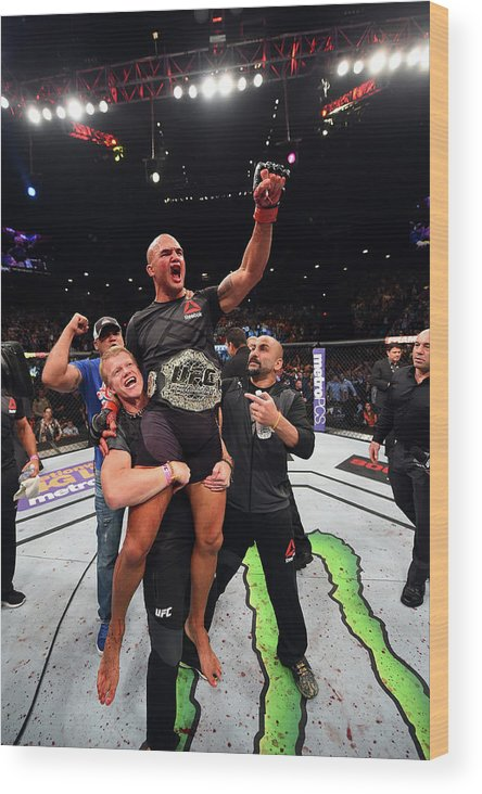 Event Wood Print featuring the photograph Ufc 189 Lawler V Macdonald by Josh Hedges/zuffa Llc