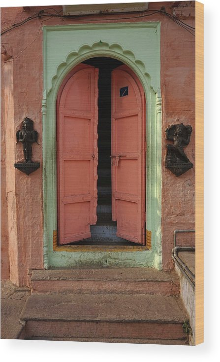 Description Wood Print featuring the photograph Old Doors India, Varanasi by Stereostok