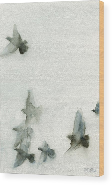 Bird Wood Print featuring the painting A Flock of Pigeons 1 Watercolor Painting of Birds by Beverly Brown