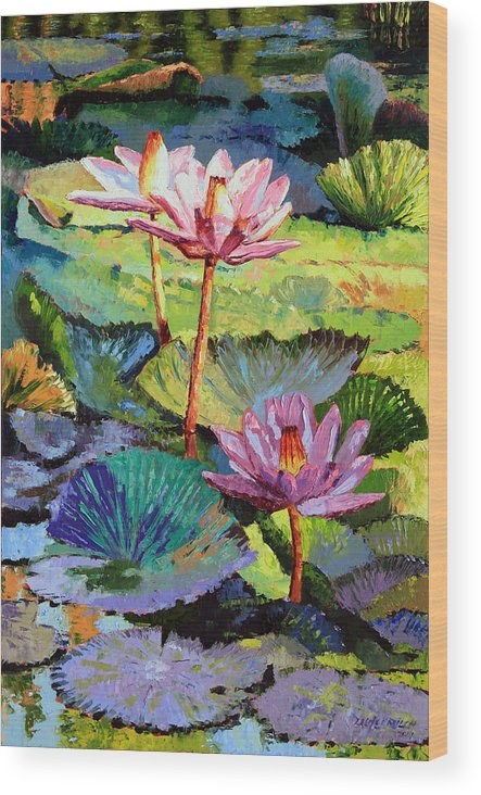 Water Lilies Wood Print featuring the painting A Moment In Sunlight by John Lautermilch
