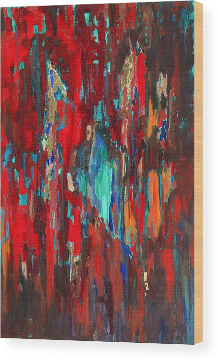 Abstract Art Wood Print featuring the painting A New Beginning by Billie Colson