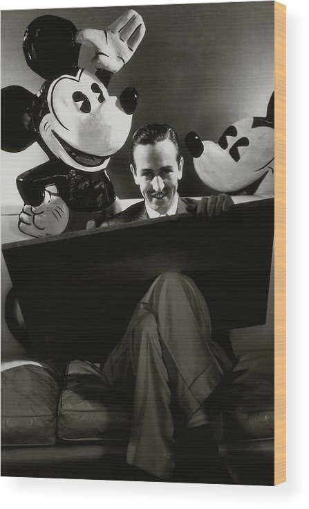 Animal Wood Print featuring the photograph A Portrait Of Walt Disney With Mickey And Minnie by Edward Steichen