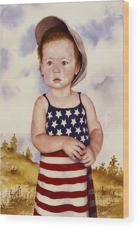 Kid Wood Print featuring the painting An All American Girl Named Ireland by Sam Sidders