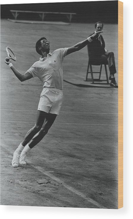 Sport Wood Print featuring the photograph Arthur Ashe Playing Tennis by Jack Robinson