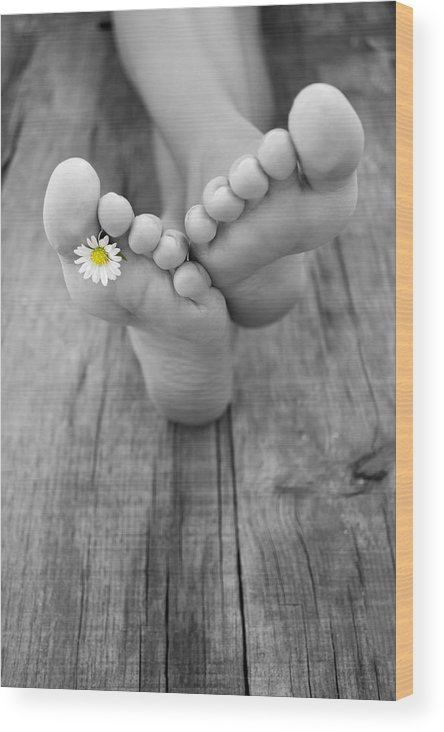 Barefoot Wood Print featuring the photograph Barefoot by Aged Pixel
