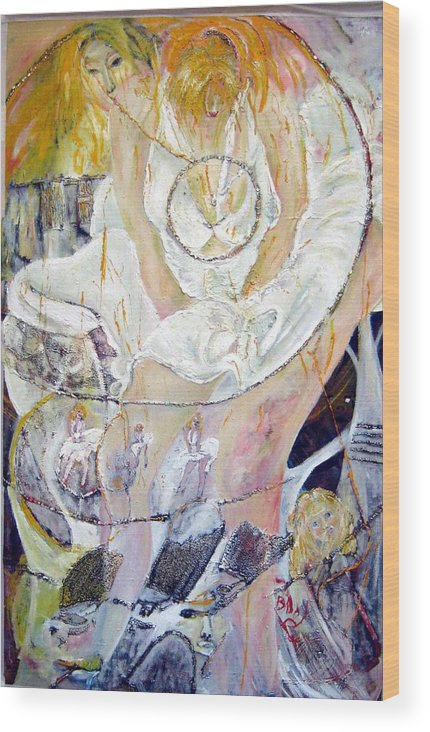 Figurative Wood Print featuring the painting Blondie  by Peggy Blood