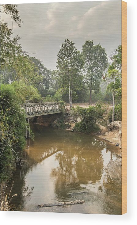 Tranquility Wood Print featuring the photograph Bridge Over Siem Reap River On The Road by Cultura Exclusive/gary Latham