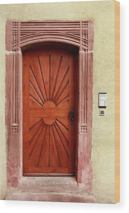 Apartment Wood Print featuring the photograph Brown Door Exterior Entrance by Bendebruyn