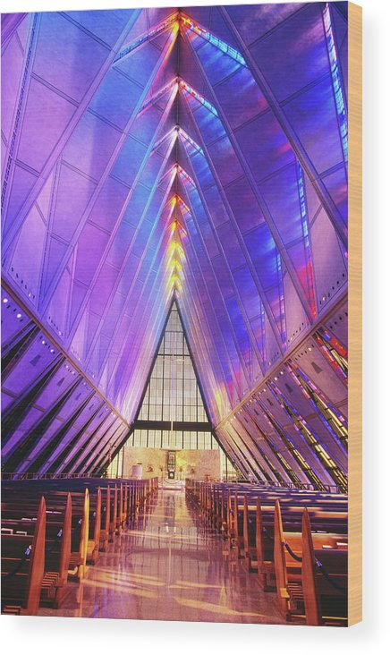 United States Air Force Academy Wood Print featuring the photograph Cadet Chapel Interior, Us Air Force by John Elk