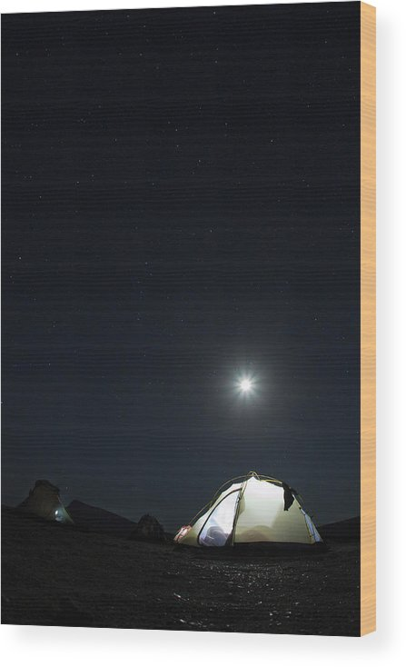 Camping Wood Print featuring the photograph Camping On The Beach Under The Moon And by Anna Henly