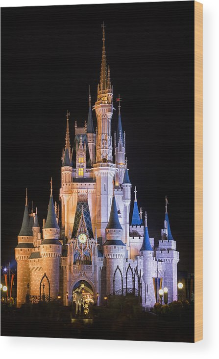 3scape Wood Print featuring the photograph Cinderella's Castle in Magic Kingdom by Adam Romanowicz