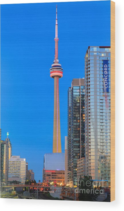 America Wood Print featuring the photograph CN Tower by Night by Inge Johnsson