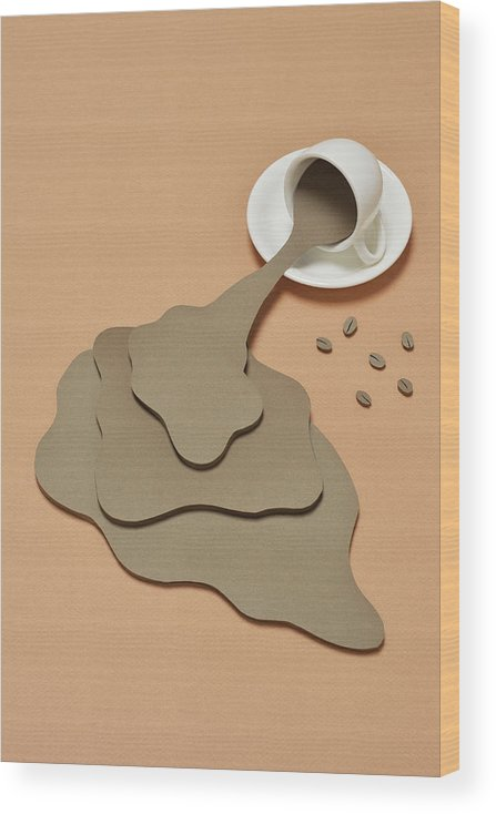 Inspiration Wood Print featuring the photograph Coffee Spilling Out From A Coffee Cup by Yagi Studio