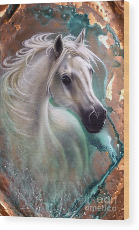 Copper Wood Print featuring the painting Copper Grace - Horse by Sandi Baker