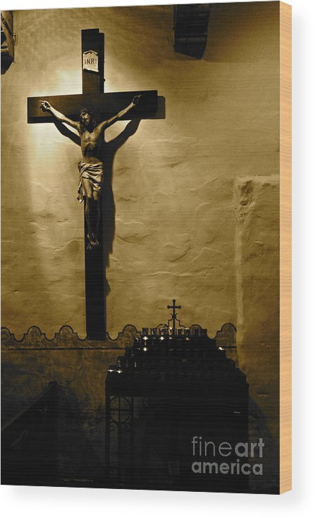 Christ Wood Print featuring the photograph Crucifixion by Lori Leigh
