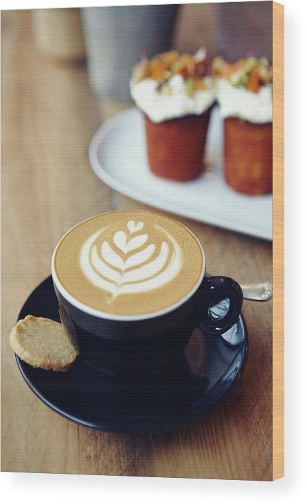 Bakery Wood Print featuring the photograph Cup Of Coffee With Leaf Pattern On by Jake Curtis