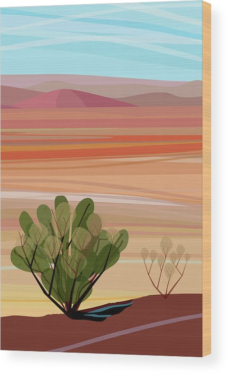 Saguaro Cactus Wood Print featuring the photograph Desert, Cactus Brush, Mountains In by Charles Harker