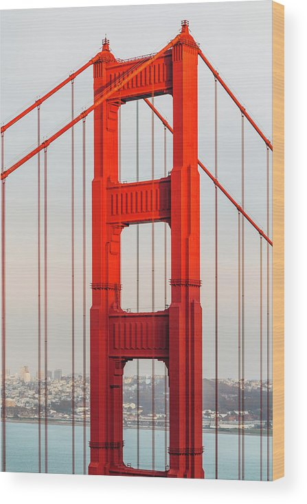 California Wood Print featuring the photograph Detail Of Golden Gate Bridge, San by Deimagine