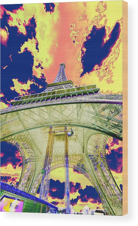 Cruise 2013 Wood Print featuring the photograph Eiffel Tower Psycho Version by Richard Henne
