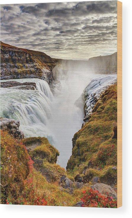Scenics Wood Print featuring the photograph Frozen Mist On Autumn Day At Gullfoss by Anna Gorin