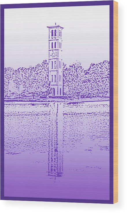 Furman University Wood Print featuring the digital art Furman Bell Tower by Greg Joens