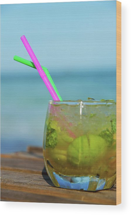 Outdoors Wood Print featuring the photograph Glass Of Mojito Cocktail By Tropical by Sami Sarkis