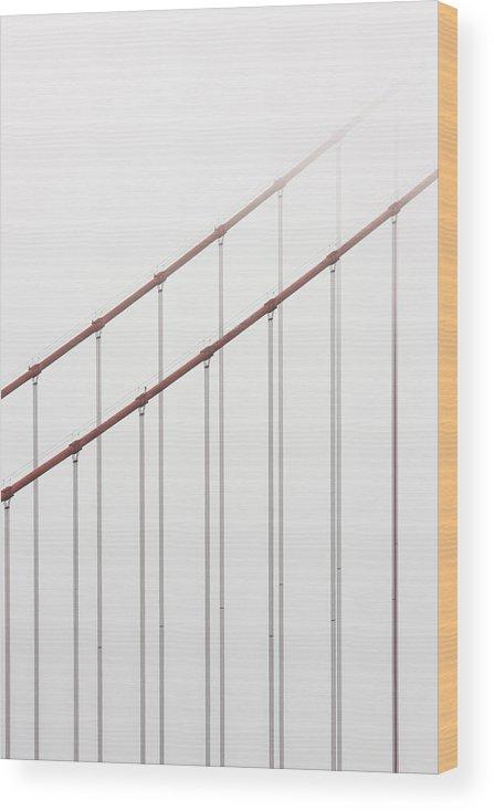 Scenics Wood Print featuring the photograph Golden Gate Bridge Cable Fog by Chuckschugphotography