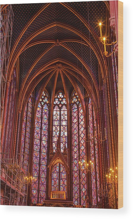 Gothic Style Wood Print featuring the photograph Gothic Architecture Inside Sainte by Julian Elliott Photography
