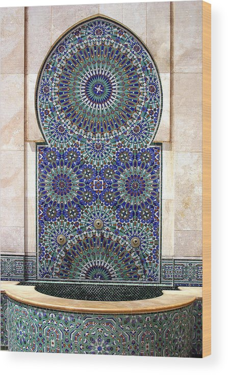Holy Water Fountain Wood Print featuring the photograph Holy Water Fountain Hassan II Mosque Sour Jdid Casablanca Morocco by PIXELS XPOSED Ralph A Ledergerber Photography