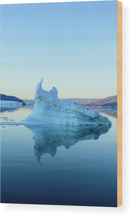 Scenics Wood Print featuring the photograph Iceberg In The Scoresby Sund by Berthold Trenkel