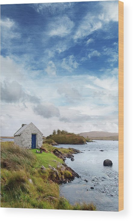 Water's Edge Wood Print featuring the photograph Irish Landscape In Connemara by Narvikk