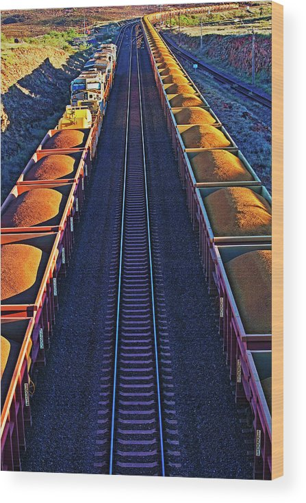 Rail Freight Wood Print featuring the photograph Iron Ore Train, Karratha. Western by John W Banagan