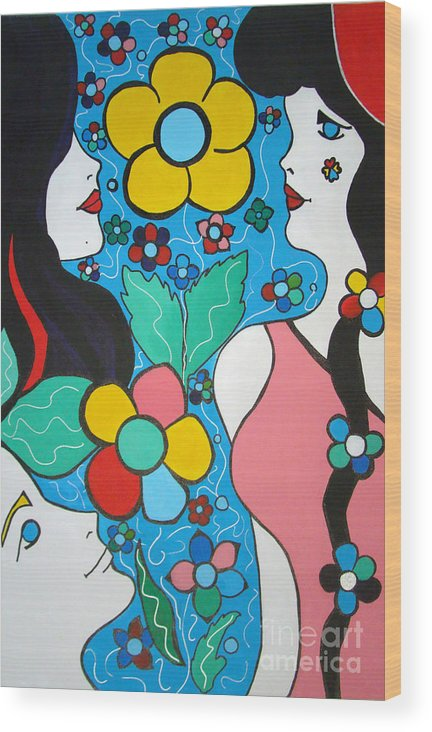 Pop-art Wood Print featuring the painting Life is Beautiful by Silvana Abel