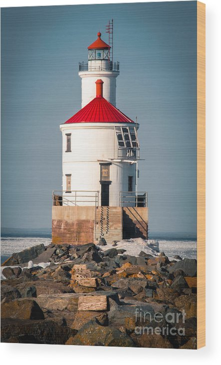 Wisconsin Point Wood Print featuring the photograph Lighthouse On The Rocks by Ever-Curious Photography