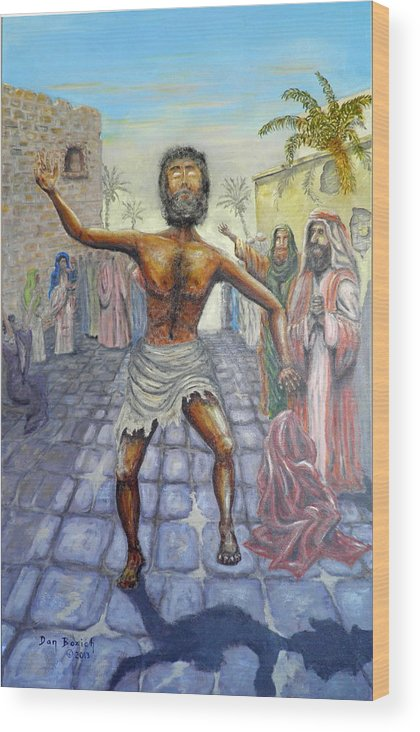 Biblical Wood Print featuring the painting Lord I want to See by Dan Bozich