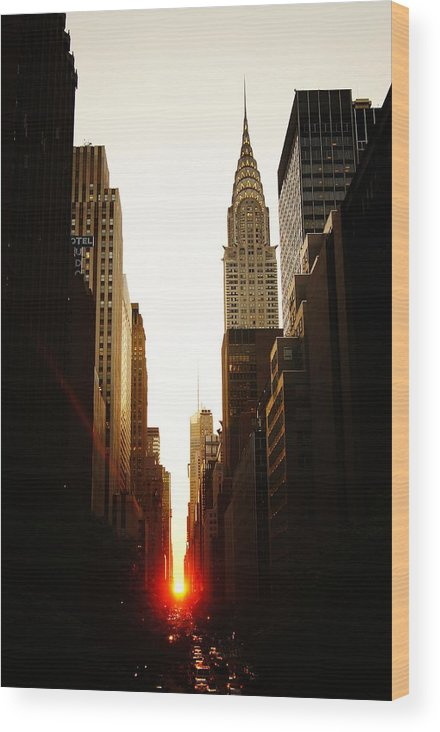 New York City Wood Print featuring the photograph Manhattanhenge Sunset and the Chrysler Building by Vivienne Gucwa