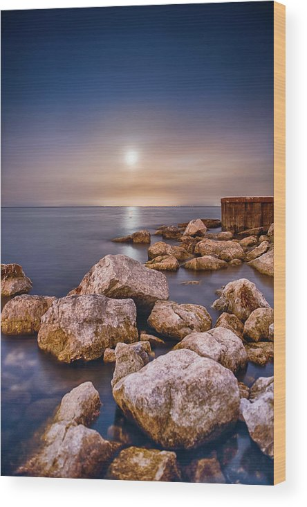 Tranquility Wood Print featuring the photograph Moonrise Over Lake Ontario by Insight Imaging