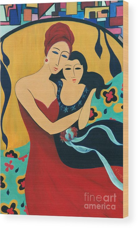 #motherandchild Wood Print featuring the painting Mother and Child by Jacquelinemari